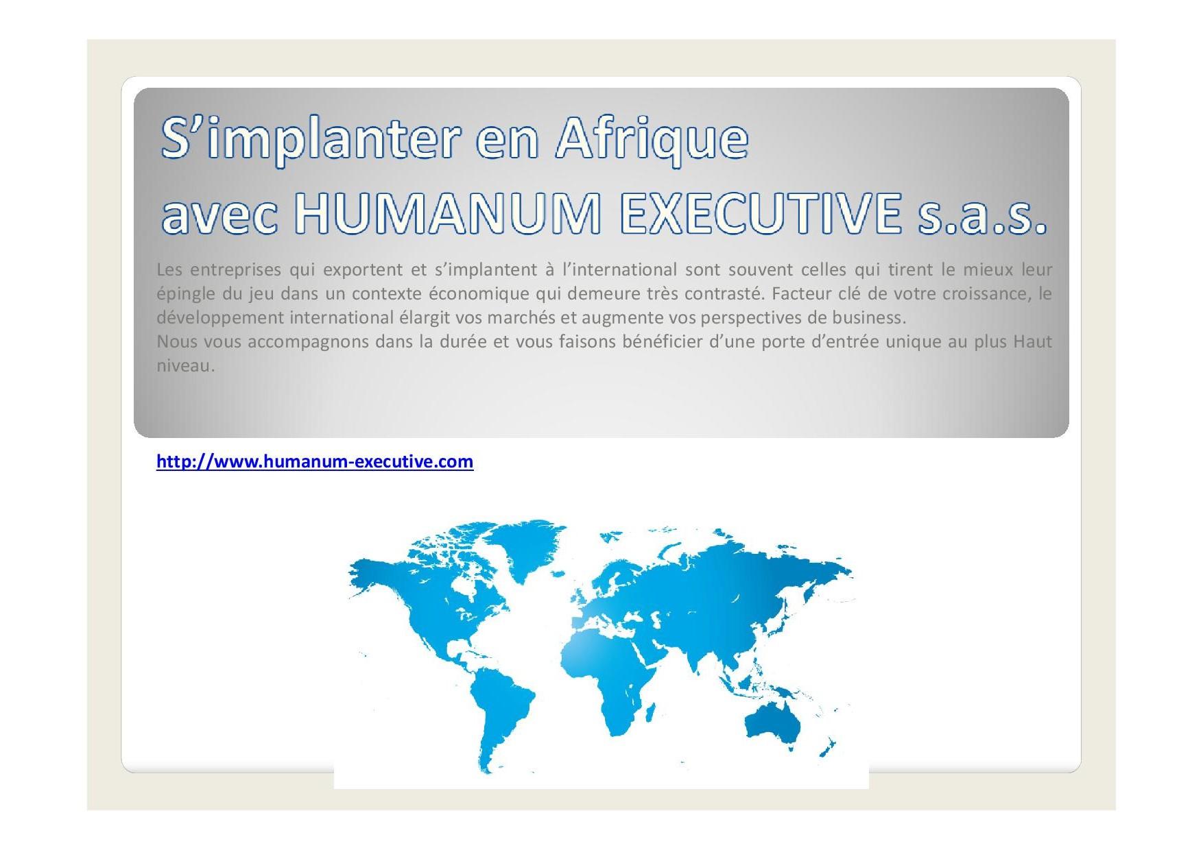 S'implanter en Afrique avec Humanum Executive s.a.s